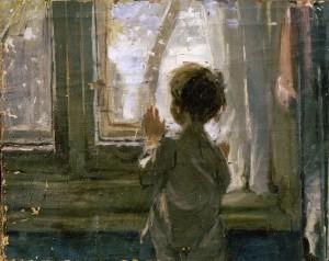 """Вариант картины """"Зима пришла. Детство""""  1959 г. Х.М. 50Х45"""