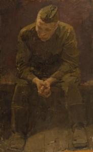 """Этюд к картине """"На вокзале. прощание"""" 1960 г.г. Х.К.М. 50Х80"""