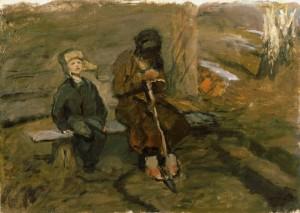 "Эскиз к картине ""Весной"", конец 1950 г.г. Х.М. 68Х50."