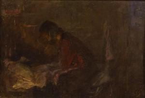 """Этюд к картине """"Над больным ребёнком"""" конец 1950 г.г. Х.К.М. 54Х36."""