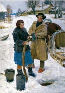 """""""По воду""""  1953 г. Х.М. 143Х111. Оренбургский областной музей изобразительных искусств"""