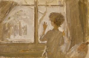 """Эскиз к картине """"Зима пришла. Детство"""" 1960 г. К.М. 45Х30"""