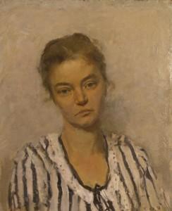 """""""Портрет жены художника"""" (Е.В.Тутунова) Вторая половина 1970 г. г. Х.К.М.  36Х56"""